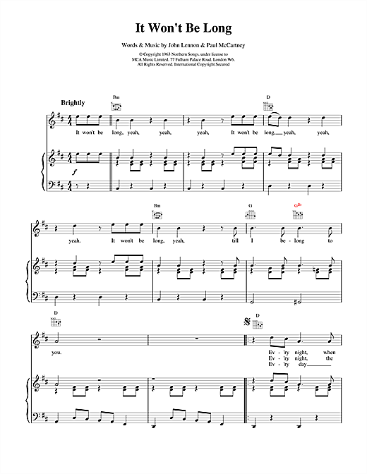 The Beatles It Won't Be Long sheet music notes and chords