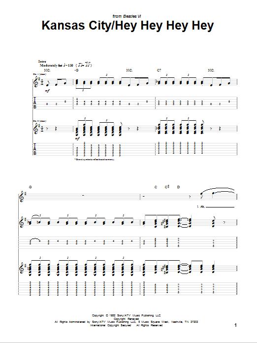 The Beatles Kansas City sheet music notes and chords. Download Printable PDF.