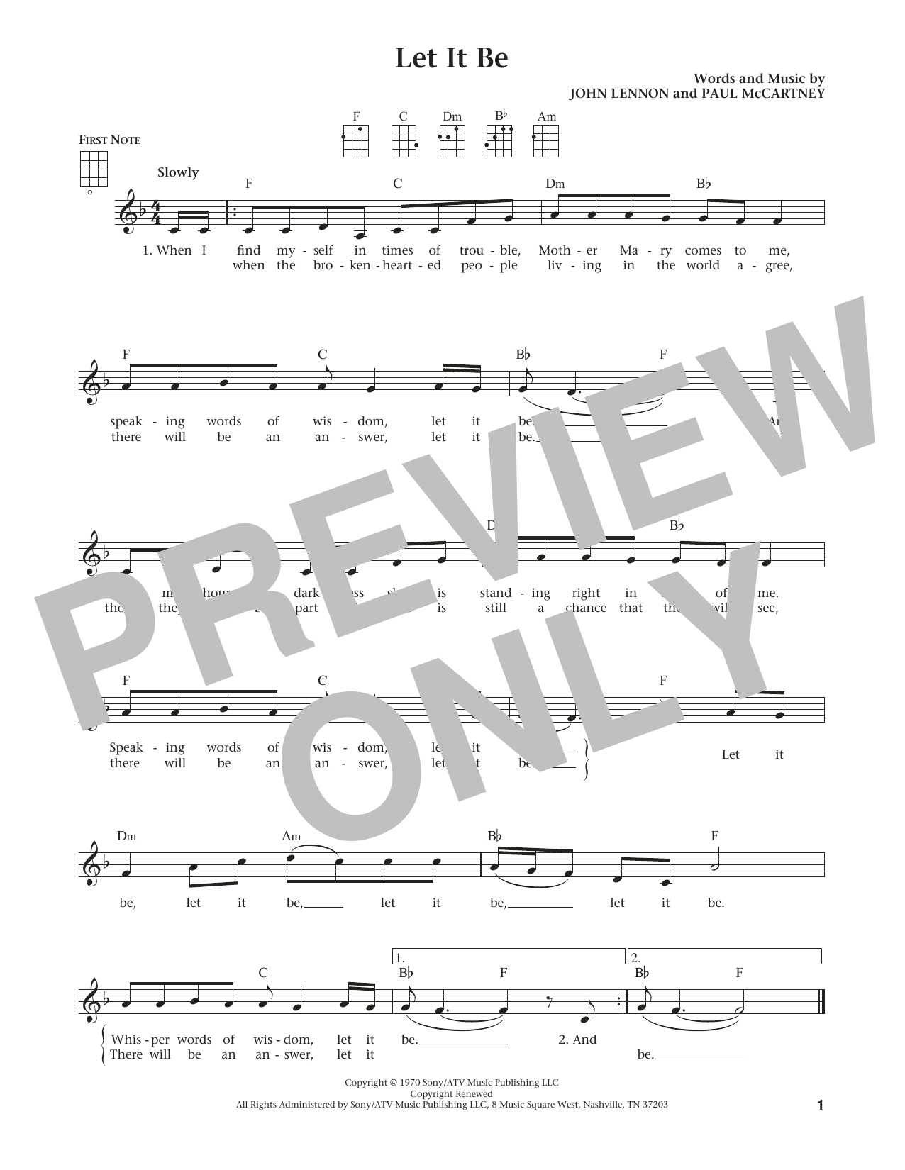 The Beatles Let It Be (from The Daily Ukulele) (arr. Liz and Jim Beloff) sheet music notes and chords
