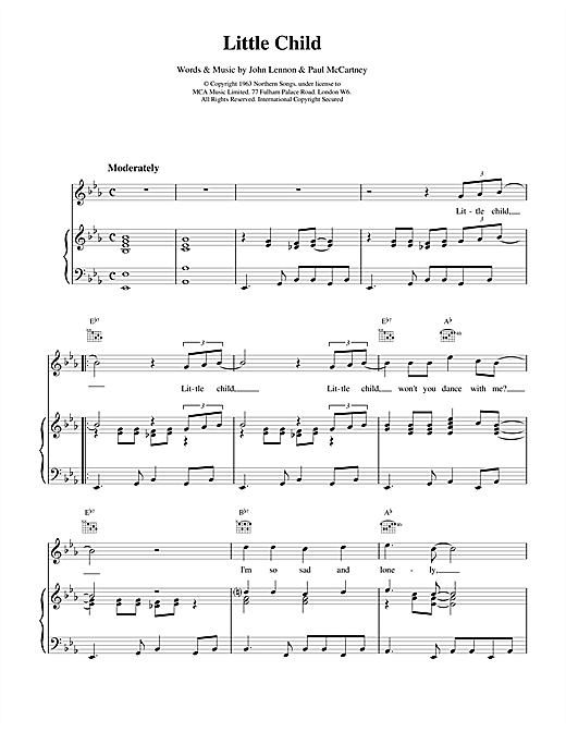 The Beatles Little Child sheet music notes and chords