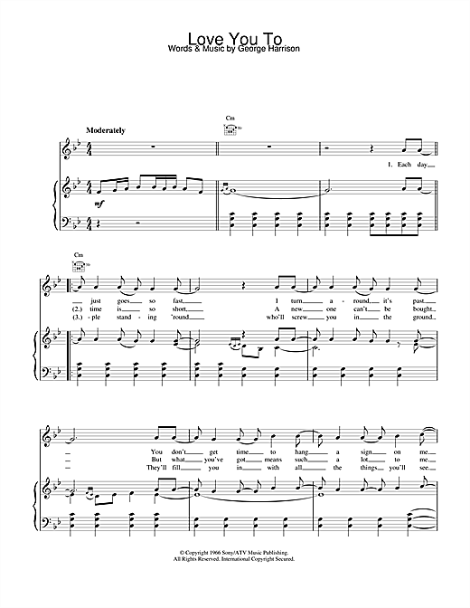 The Beatles Love You To sheet music notes and chords