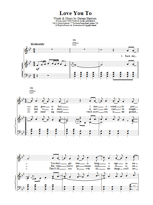 The Beatles Love You To sheet music notes and chords. Download Printable PDF.