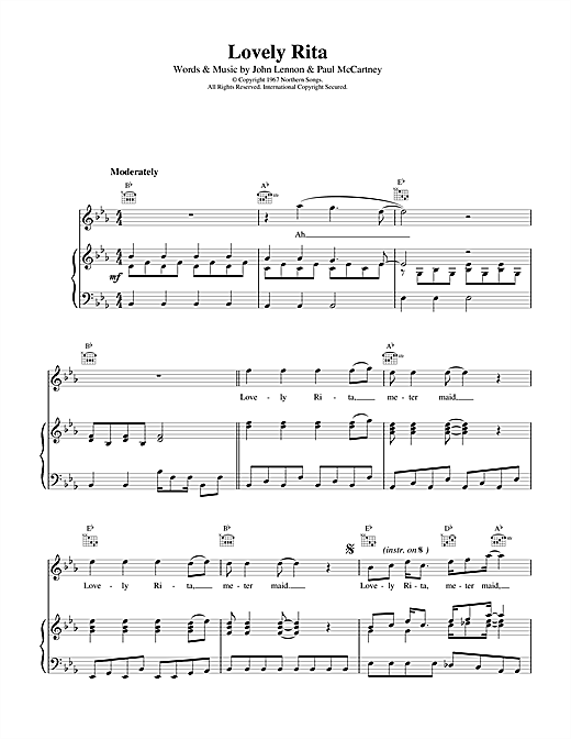 The Beatles Lovely Rita sheet music notes and chords