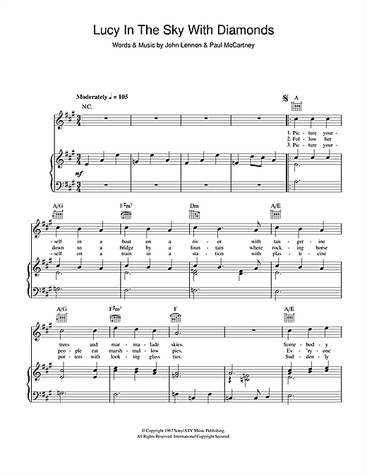 The Beatles Lucy In The Sky With Diamonds sheet music notes and chords. Download Printable PDF.