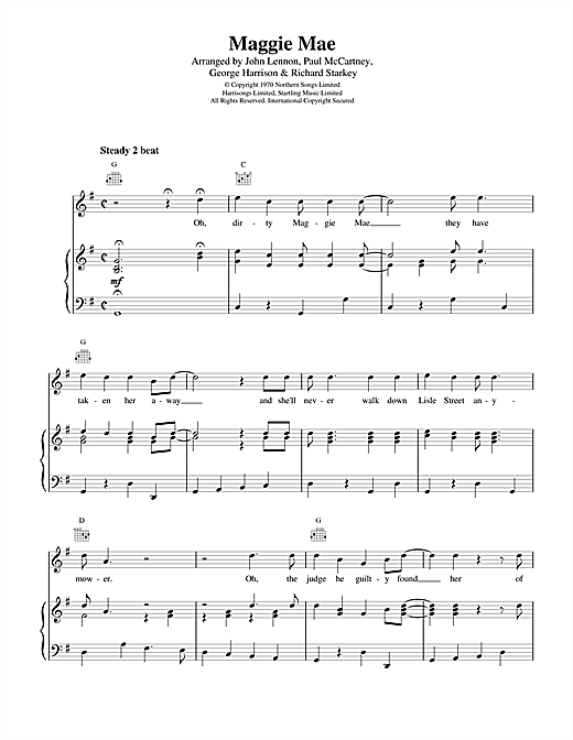 The Beatles Maggie Mae sheet music notes and chords