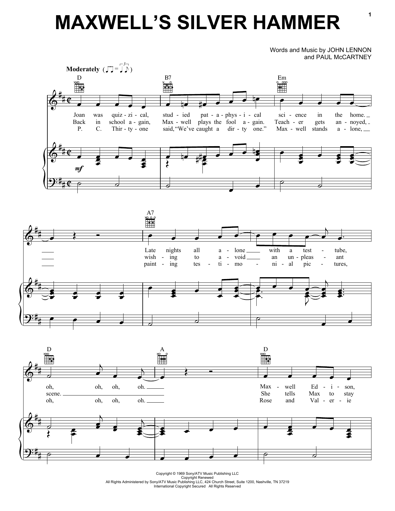 The Beatles Maxwell's Silver Hammer sheet music notes and chords. Download Printable PDF.