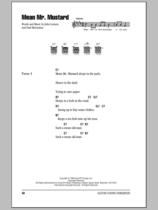 The Beatles Mean Mr Mustard sheet music notes and chords. Download Printable PDF.