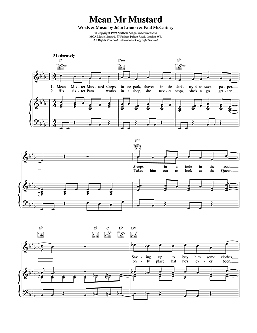 The Beatles Mean Mr Mustard sheet music notes and chords