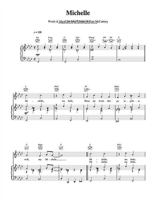 The Beatles Michelle sheet music notes and chords. Download Printable PDF.