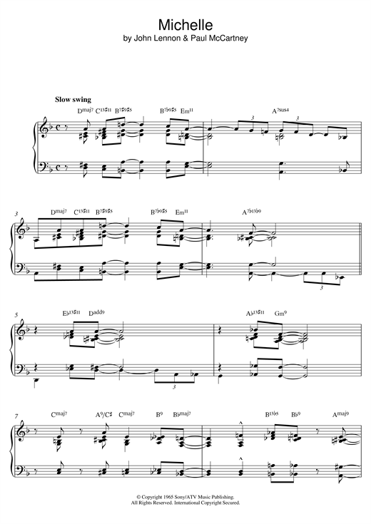 The Beatles Michelle [Jazz version] sheet music notes and chords. Download Printable PDF.