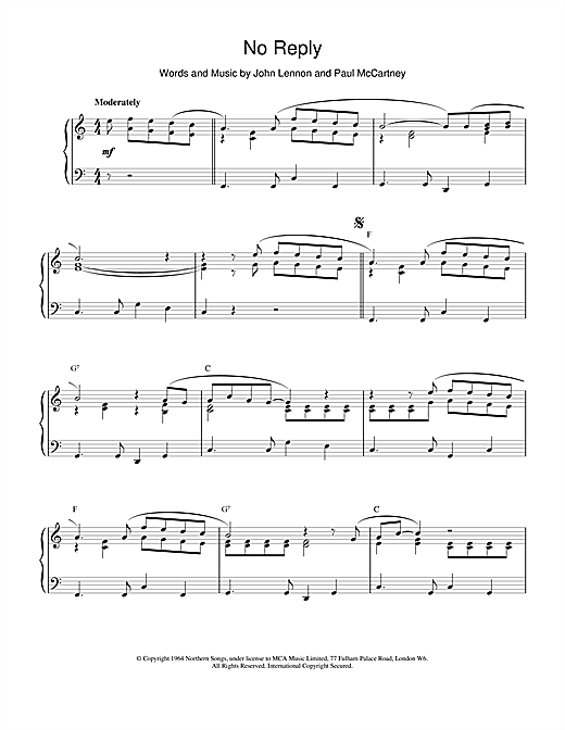 The Beatles No Reply sheet music notes and chords. Download Printable PDF.
