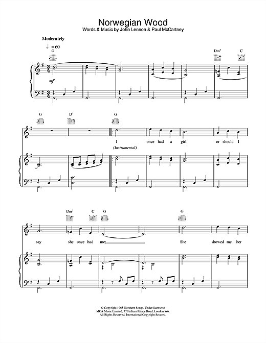 The Beatles Norwegian Wood (This Bird Has Flown) sheet music notes and chords. Download Printable PDF.