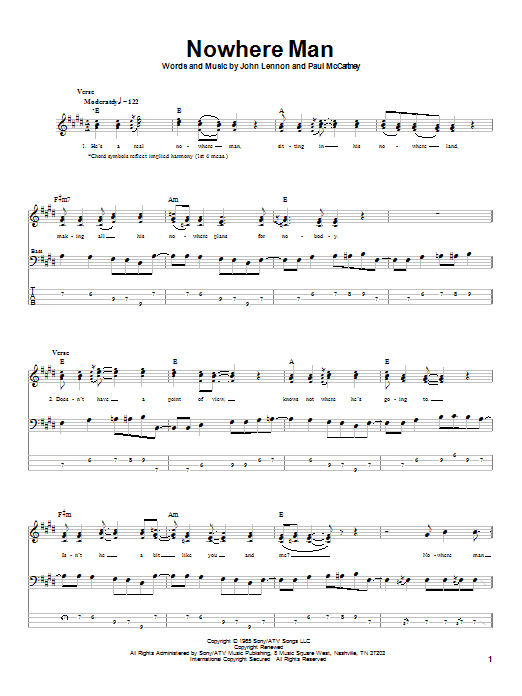 The Beatles Nowhere Man sheet music notes and chords. Download Printable PDF.