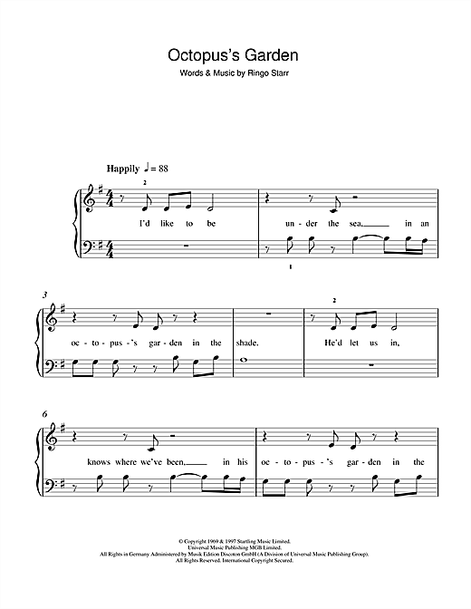 The Beatles Octopus's Garden sheet music notes and chords. Download Printable PDF.