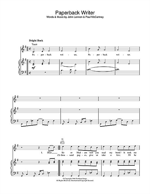 The Beatles Paperback Writer sheet music notes and chords. Download Printable PDF.
