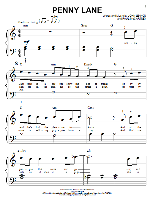 The Beatles Penny Lane sheet music notes and chords. Download Printable PDF.