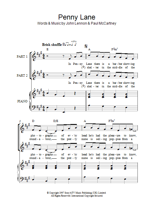 The Beatles Penny Lane (arr. Rick Hein) sheet music notes and chords. Download Printable PDF.