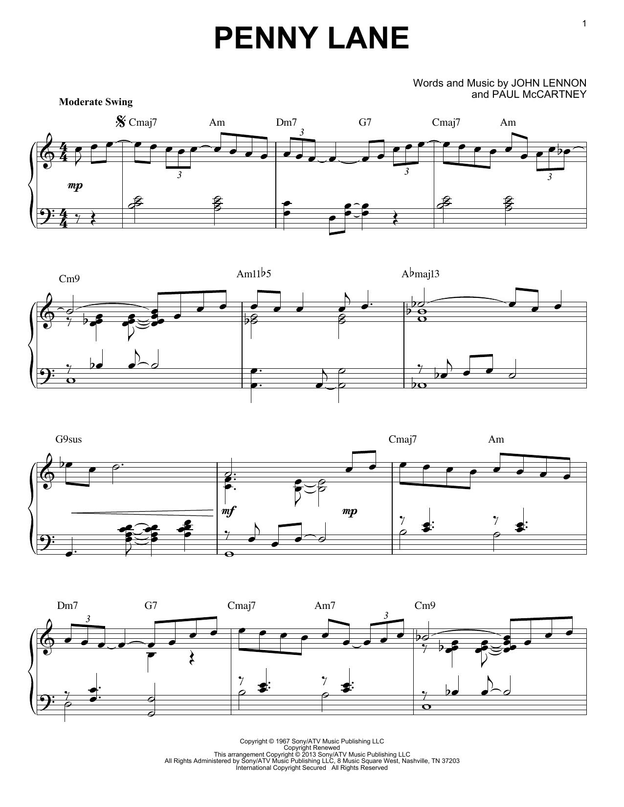 The Beatles Penny Lane [Jazz version] (arr. Brent Edstrom) sheet music notes and chords. Download Printable PDF.