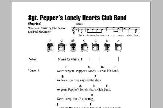 The Beatles Sgt. Pepper's Lonely Hearts Club Band (Reprise) sheet music notes and chords. Download Printable PDF.