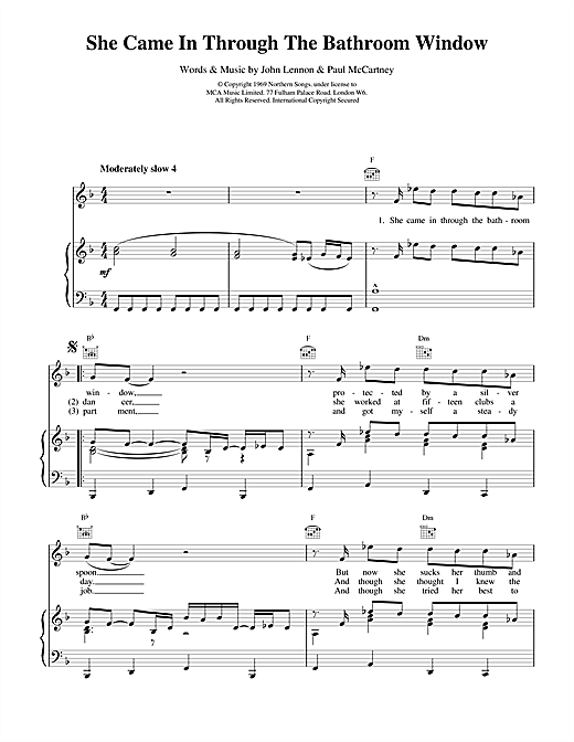 The Beatles She Came In Through The Bathroom Window sheet music notes and chords