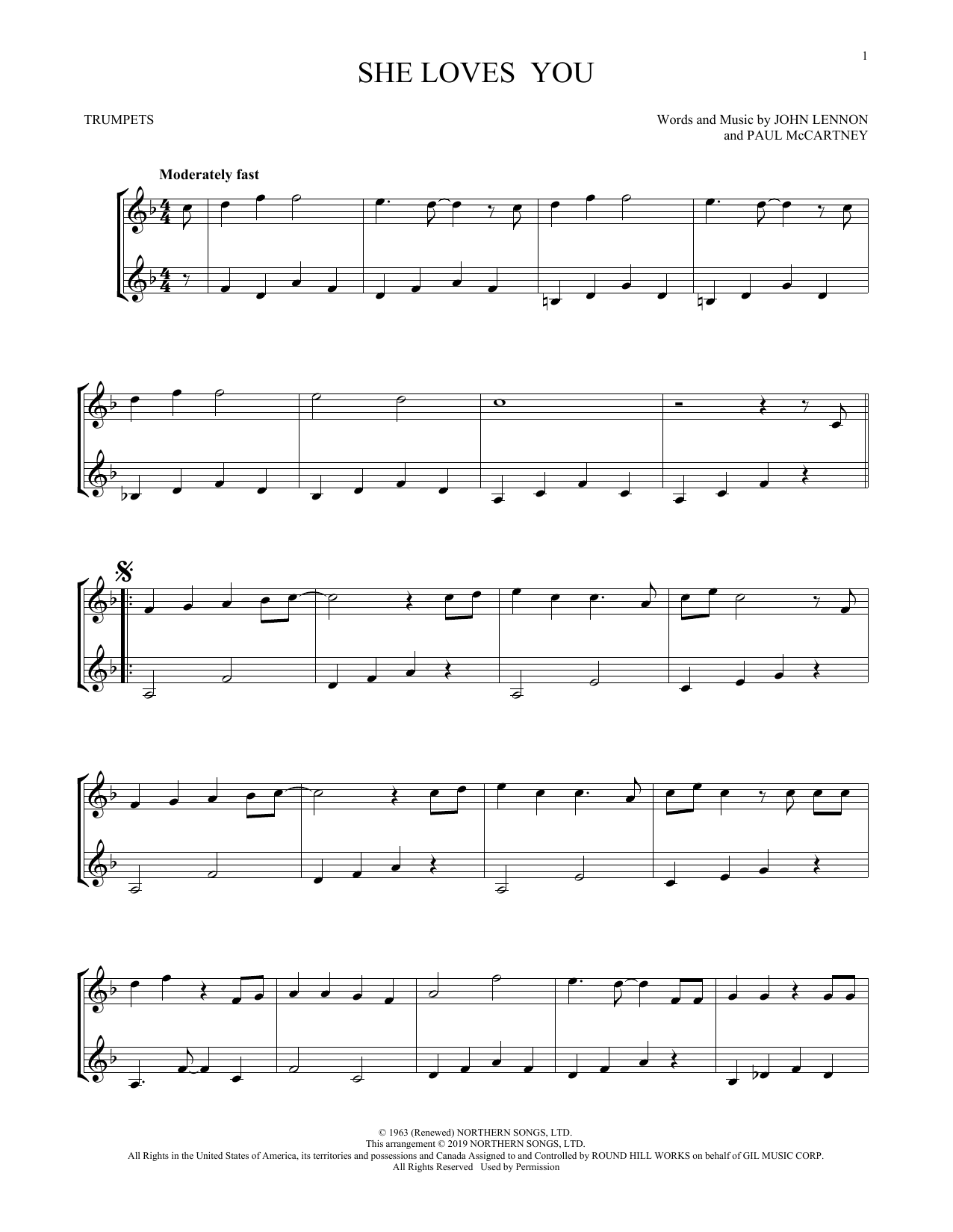 The Beatles She Loves You Arr Mark Phillips Sheet Music Pdf Notes Chords Pop Score Trumpet Duet Download Printable Sku 431822