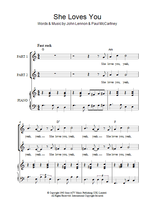 The Beatles She Loves You (arr. Rick Hein) sheet music notes and chords. Download Printable PDF.