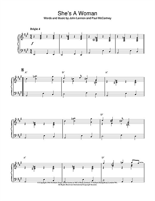 The Beatles She's A Woman sheet music notes and chords