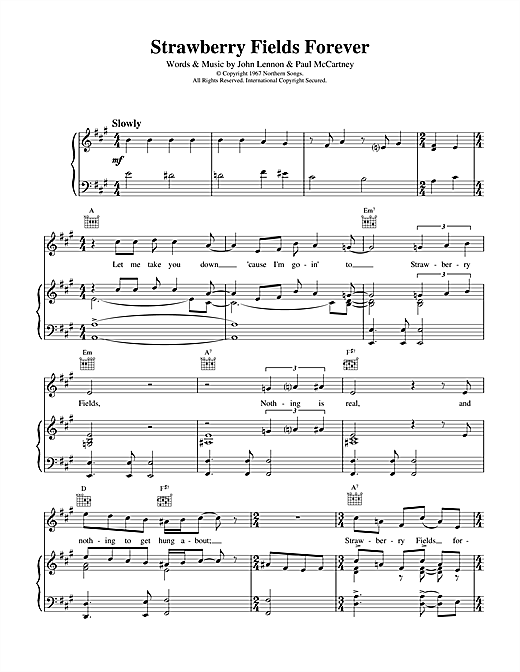 The Beatles Strawberry Fields Forever sheet music notes and chords