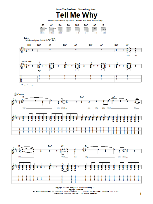 The Beatles Tell Me Why sheet music notes and chords. Download Printable PDF.
