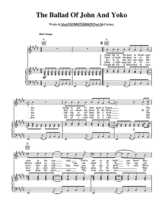 The Beatles The Ballad Of John And Yoko sheet music notes and chords. Download Printable PDF.