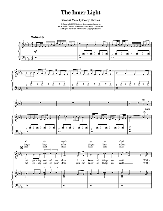 The Beatles The Inner Light sheet music notes and chords