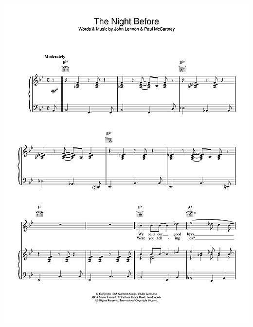 The Beatles The Night Before sheet music notes and chords. Download Printable PDF.