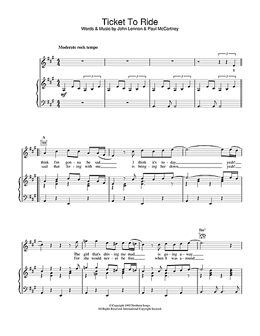 The Beatles Ticket To Ride sheet music notes and chords. Download Printable PDF.