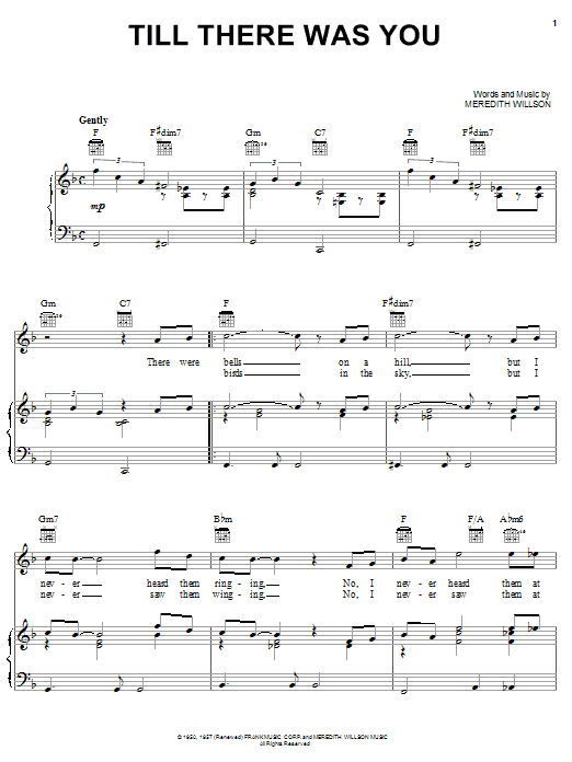 The Beatles Till There Was You sheet music notes and chords. Download Printable PDF.