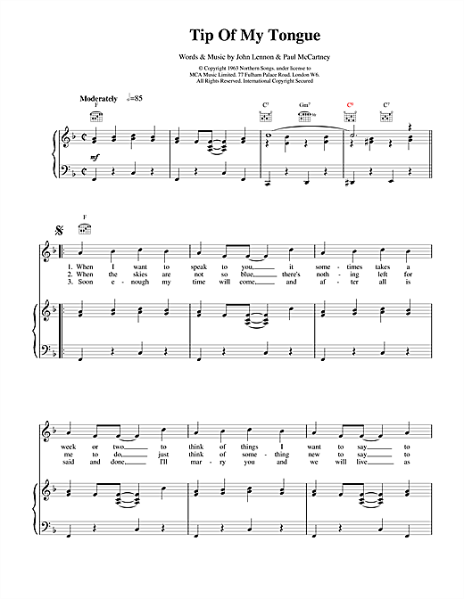 The Beatles Tip Of My Tongue sheet music notes and chords