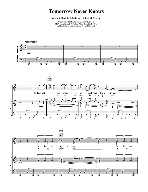 The Beatles Tomorrow Never Knows sheet music notes and chords. Download Printable PDF.