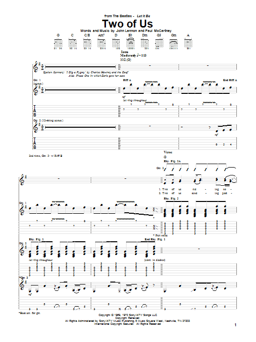 The Beatles Two Of Us sheet music notes and chords. Download Printable PDF.