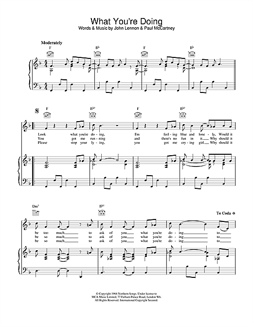 The Beatles What You're Doing sheet music notes and chords. Download Printable PDF.