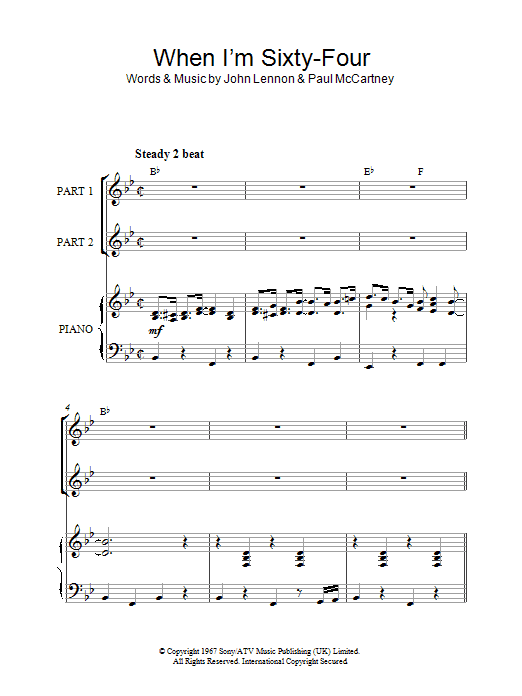The Beatles When I'm Sixty-Four (arr. Rick Hein) sheet music notes and chords. Download Printable PDF.