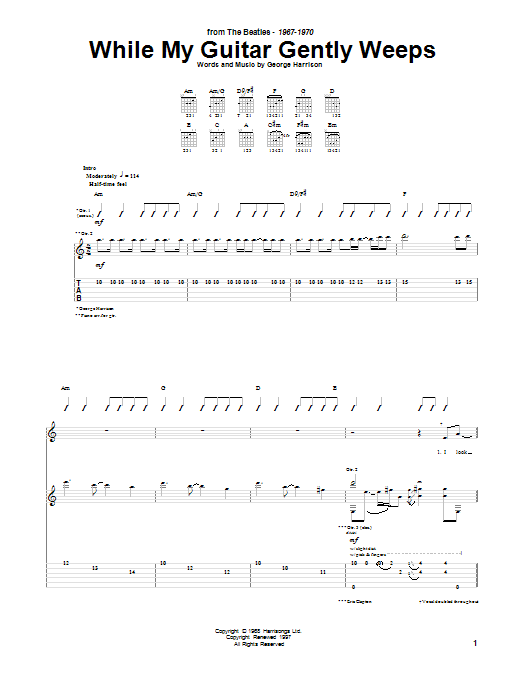 The Beatles While My Guitar Gently Weeps sheet music notes and chords. Download Printable PDF.