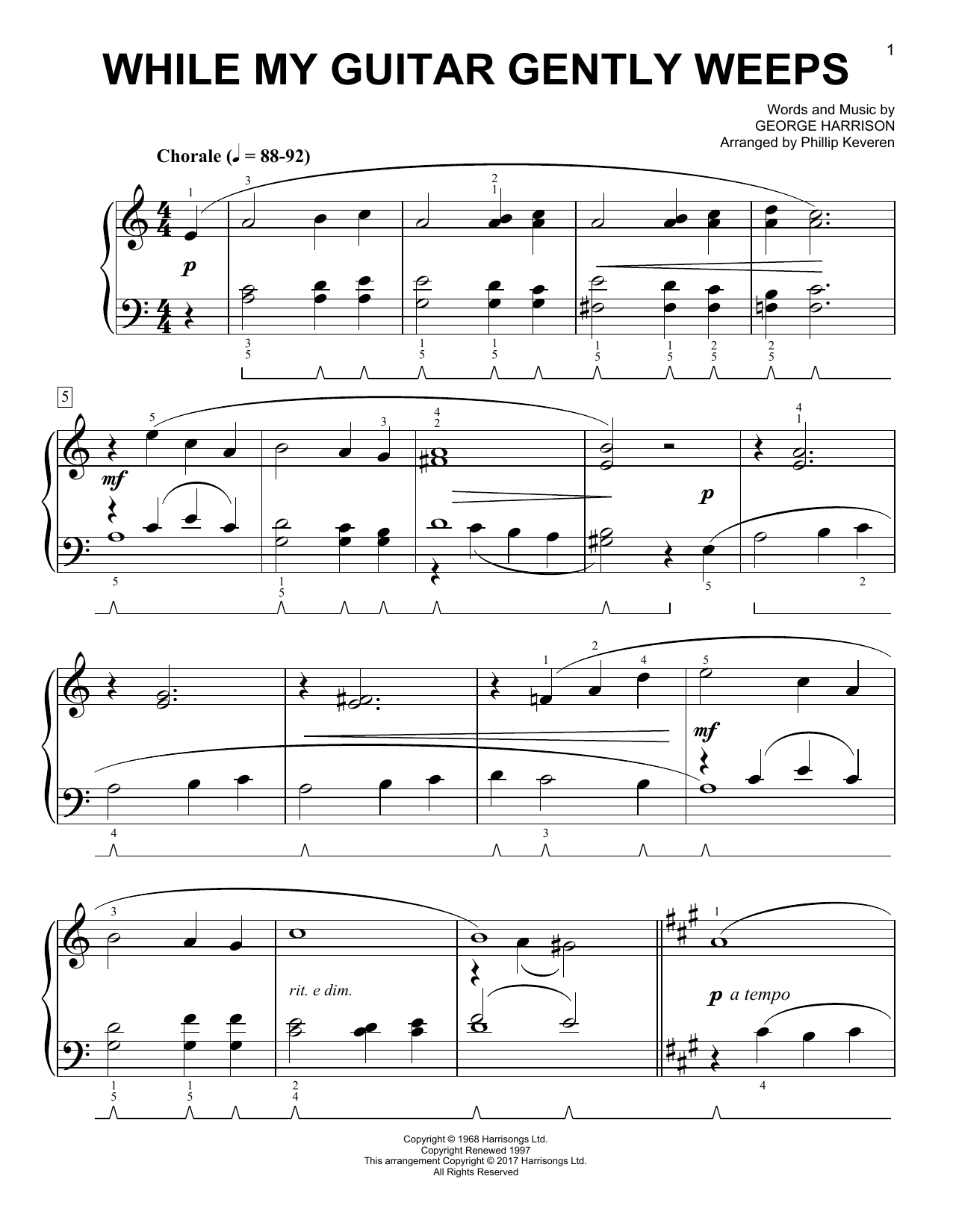 The Beatles While My Guitar Gently Weeps [Classical version] (arr. Phillip Keveren) sheet music notes and chords. Download Printable PDF.