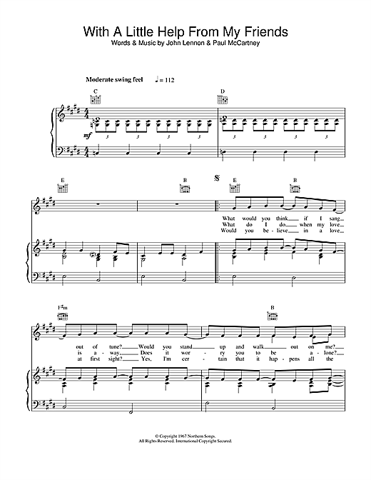 The Beatles With A Little Help From My Friends sheet music notes and chords. Download Printable PDF.
