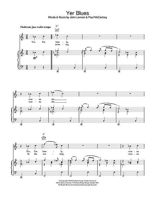 The Beatles Yer Blues sheet music notes and chords