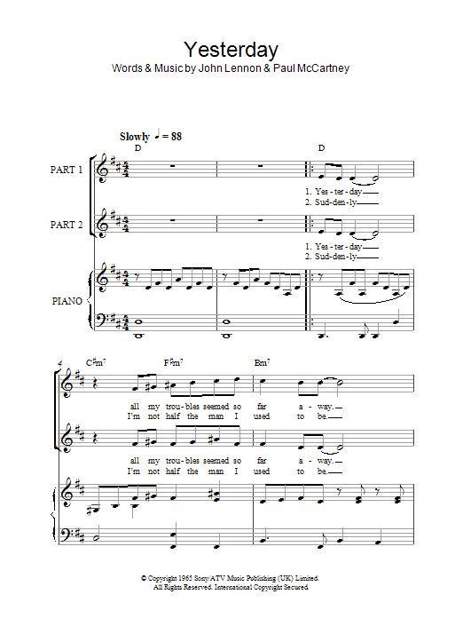 The Beatles Yesterday (arr. Rick Hein) sheet music notes and chords. Download Printable PDF.