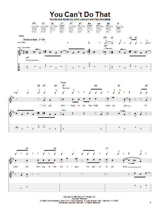 The Beatles You Can't Do That sheet music notes and chords. Download Printable PDF.