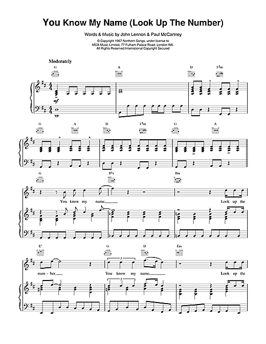 The Beatles You Know My Name (Look Up The Number) sheet music notes and chords