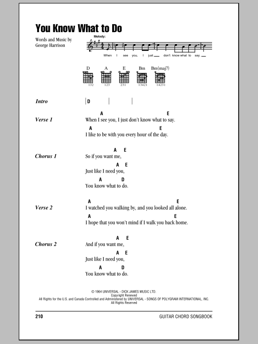The Beatles You Know What To Do sheet music notes and chords. Download Printable PDF.