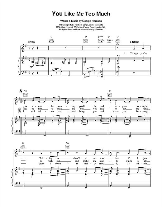 The Beatles You Like Me Too Much sheet music notes and chords