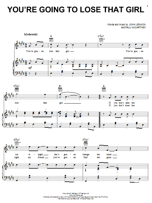 The Beatles You're Going To Lose That Girl sheet music notes and chords. Download Printable PDF.