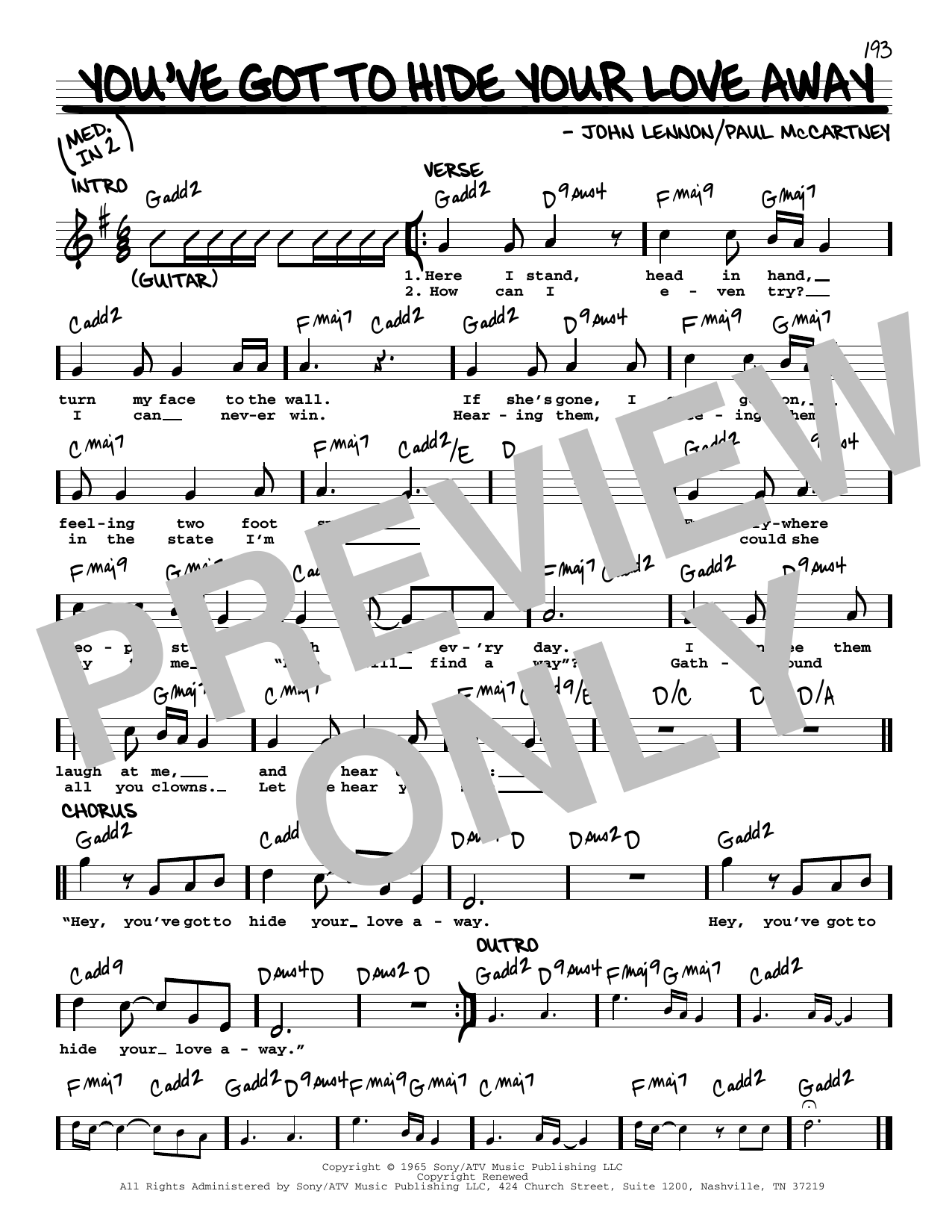 The Beatles You've Got To Hide Your Love Away [Jazz version] Sheet Music  Notes, Chords   Download Printable Real Book – Melody, Lyrics & Chords PDF  ...